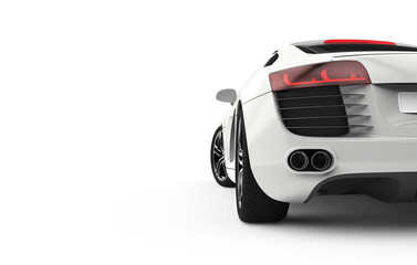 Back view of a generic and brandless modern car on a white background