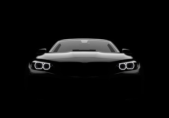 Front view of a generic and brandless modern car on a black background