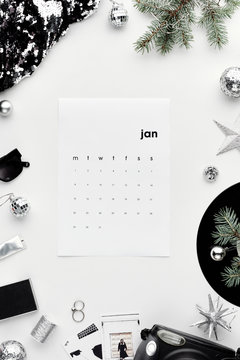 Creative calendar flat lay
