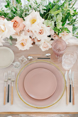 Blue and gold table setting