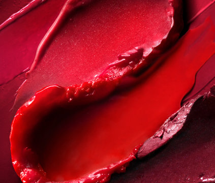 Close up of smeared red lipstick