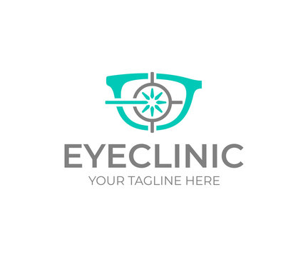 Laser eye surgery logo design. Eye clinic vector design. Glasses and laser sight logotype