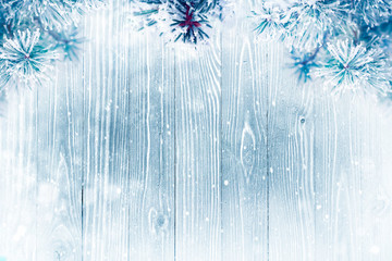 Winter background over wooden texture