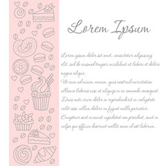Sweets bakery candy line divider row vector icons