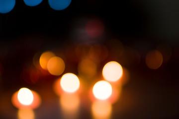 Multicolored lights in defocus.