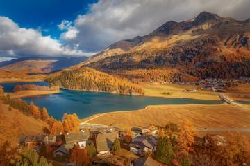 Mountain lake, St. Moritz, Silvaplana, Lake Champfèr, Switzerland