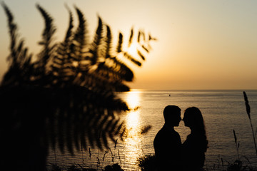 Silhouette of a couple in love at sunset on the beach