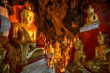 Gold Buddha Statues, Pindaya Cave Complex, Shan State, Myanmar