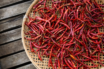 Chili Peppers in a Basket at Inle Lake, Shan State, Myanmar