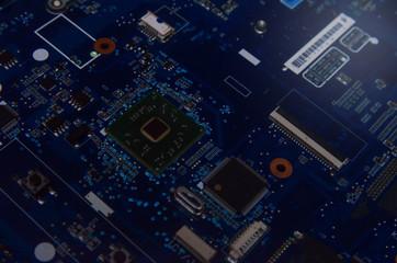 Computer microprocessor chip development. Modern scientific technology. Engineer data electronics science design engineering future motherboard hardware digital information concept