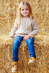 Portrait of a little girl on a haystack.