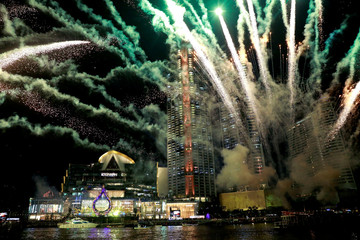 Fireworks are seen at Iconsiam shopping mall during the opening ceremony in Bangkok