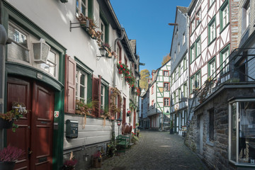 Picturesque timber framed houses in the historic center of Monschau, Aachen, Germany