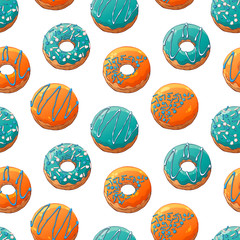 Pattern of vector colorful illustrations on the sweets theme; set of different kinds of glazed donuts decorated with toppings. Realistic isolated objects for your design.