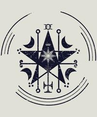 Ceremonial magic sigil with a satanic pentagram vector illustration. Ritual High Magic Circle Pentagram sigil or seal modern imitation. Demonology icon.