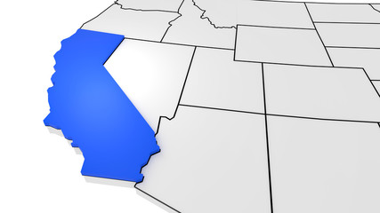 California state highlighted in blue on 3D map of the United States
