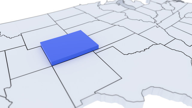 Colorado state highlighted in blue on 3D map of the United States