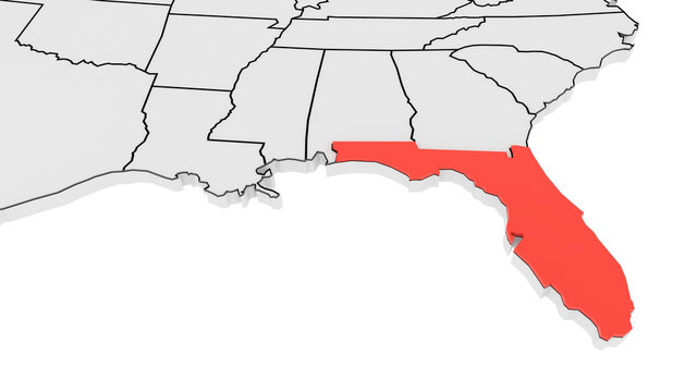 Florida state highlighted in red on 3D map of the United States