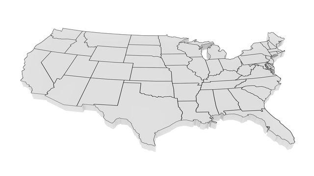 United States of America gray 3D minimalist map