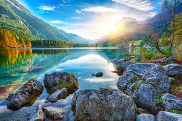 Fantastic autumn sunset of Hintersee lake