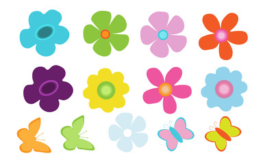 Spring flowers and butterflies set isolated on the white background. Vector illustration.