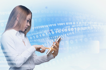 Fototapete - Blonde woman with tablet, binary numbers