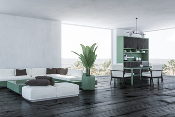Panoramic living room and dining room corner