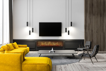 Living room interior with tv