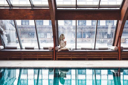 Woman enjoying vacation at hotel