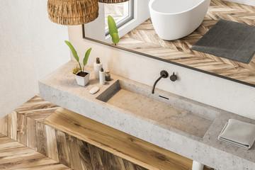 Top view of marble bathroom sink