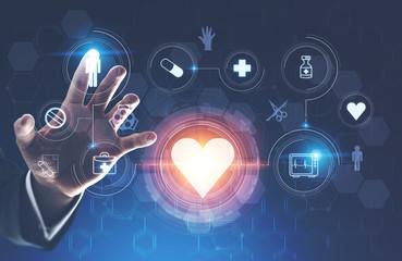 Man hand using medical interface