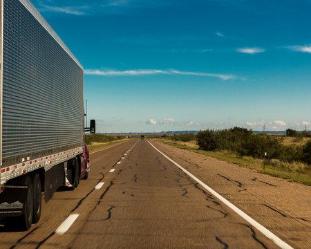Truck drives on Interstate 10 towards Amarillo Texas
