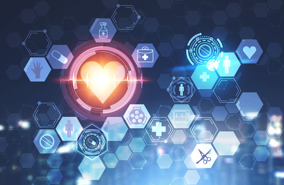 Heart and medical icons over blurred background