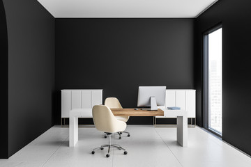 Black manager office interior