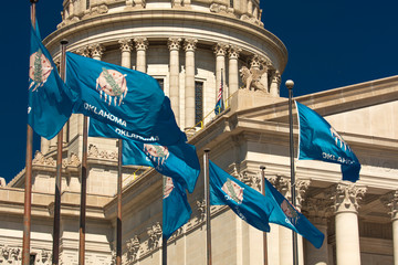State Flag flies over Oklahoma State Capitol, Oklahoma City OK
