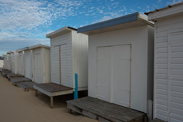 White wooden cabins on the beach in France