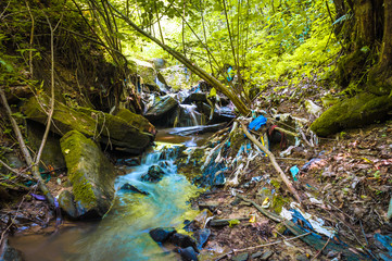 Beautiful forest stream highly polluted with waste