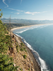 Oregon coast and Pacific Ocean from a roadside cliff.