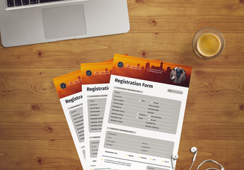 Registration Form Layout with Yellow Accents