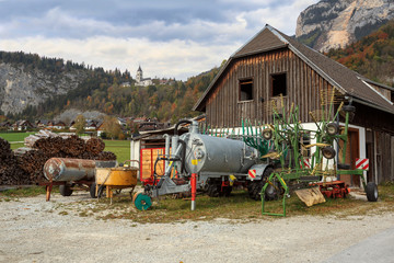 Various agricultural machinery. Village Unterburg, Styria, Austria