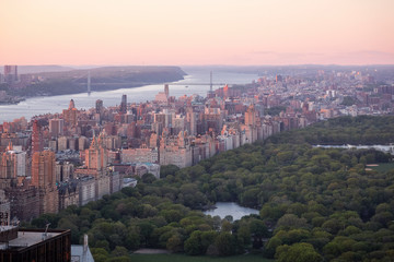 View of Central Park from a lookout. New York City.