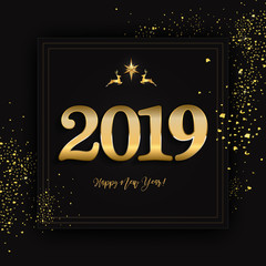 Happy new year design layout on black background with 2019 and christmas decor elements. Vector