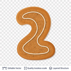 Gingerbread number two symbol with drop shadow.