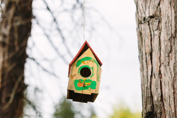 Simple Bird House with Child's Drawings