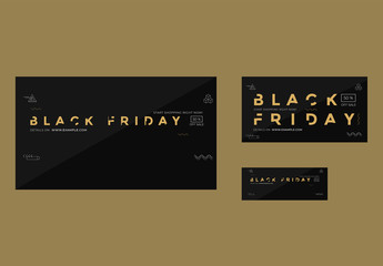Black Friday Social Media Set Layouts with Gold Elements
