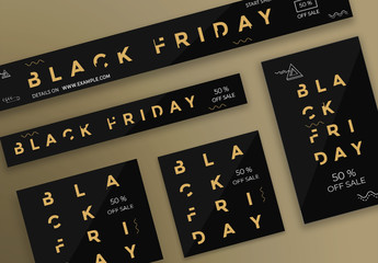 Black Friday Web Banner Layouts with Gold Elements