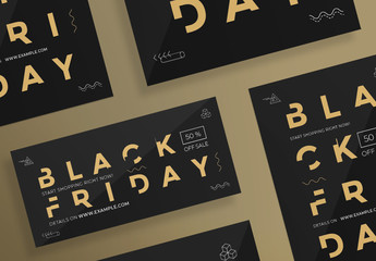 Black Friday Flyer Layouts with Gold Elements