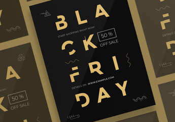 Black Friday Poster Layouts with Gold Elements