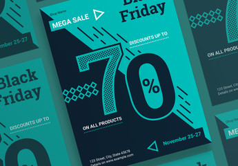 Black Friday Sale Poster Layout with Geometric Elements
