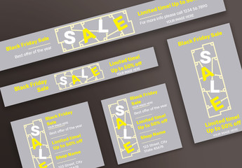 Black Friday Sale Web Banner Layouts with Yellow Elements